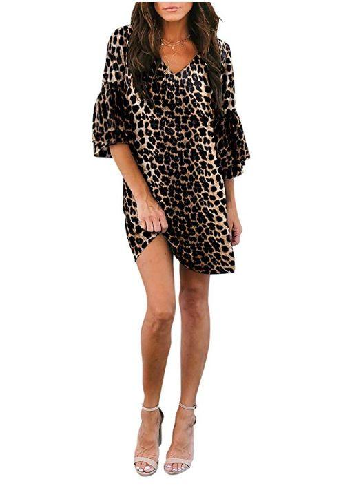 """This bell-sleeved leopard print dress comes in sizes XS to XL and twenty-one colors and patterns. <strong><a href=""""https://amzn.to/2XQeIvm"""" target=""""_blank"""" rel=""""noopener noreferrer"""">Normally $38, get it on sale for $27 on Prime Day</a>.</strong>"""