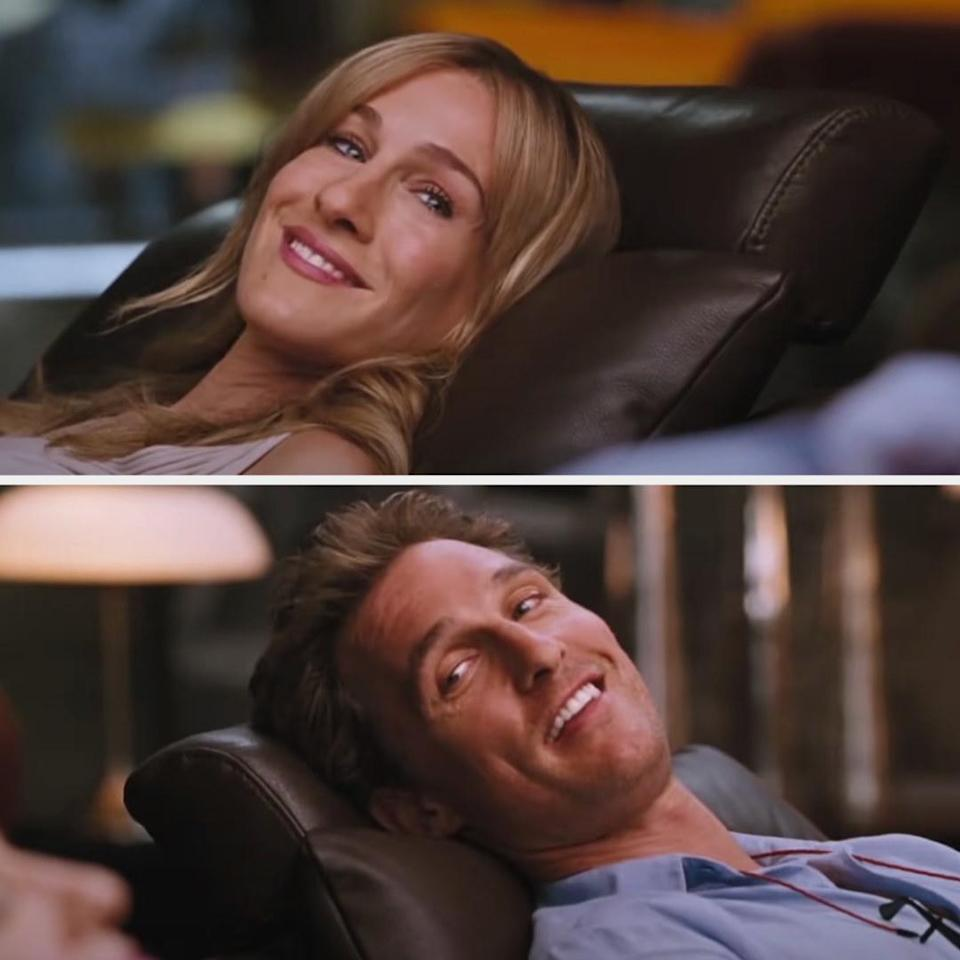 Tripp and Paula looking at each other as they're laying on leather armchairs in a store