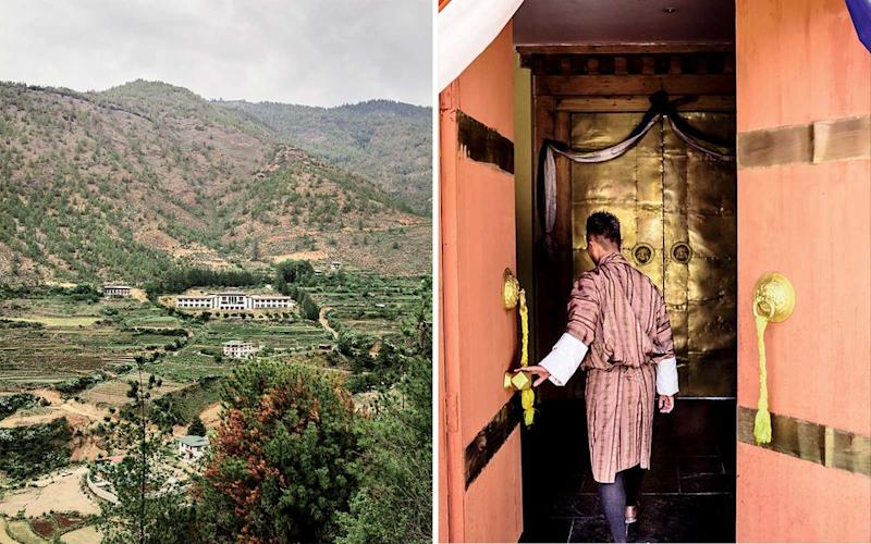 From left: The 24-room lodge is located in the pine-tree-dotted Neyphu Valley; guests are invited to perform a welcome ritual at the beginning of their stay.   Christopher Wise