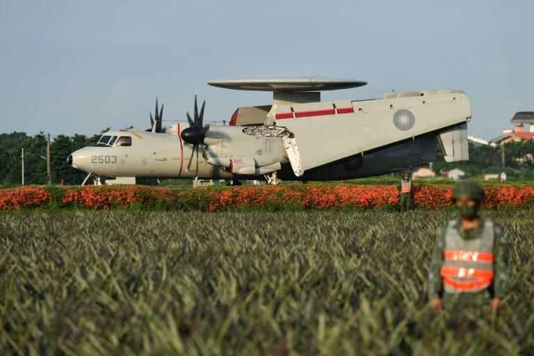 An E2K early warning aircraft also took part in the drill using a road as a runway (AFP/Sam Yeh)