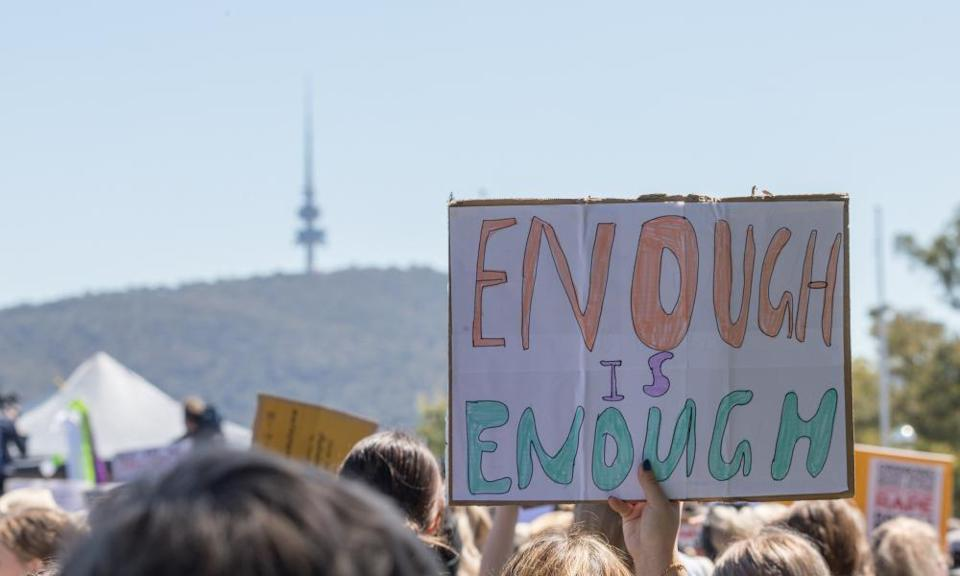 March4Justice protests outside Parliament House in Canberra