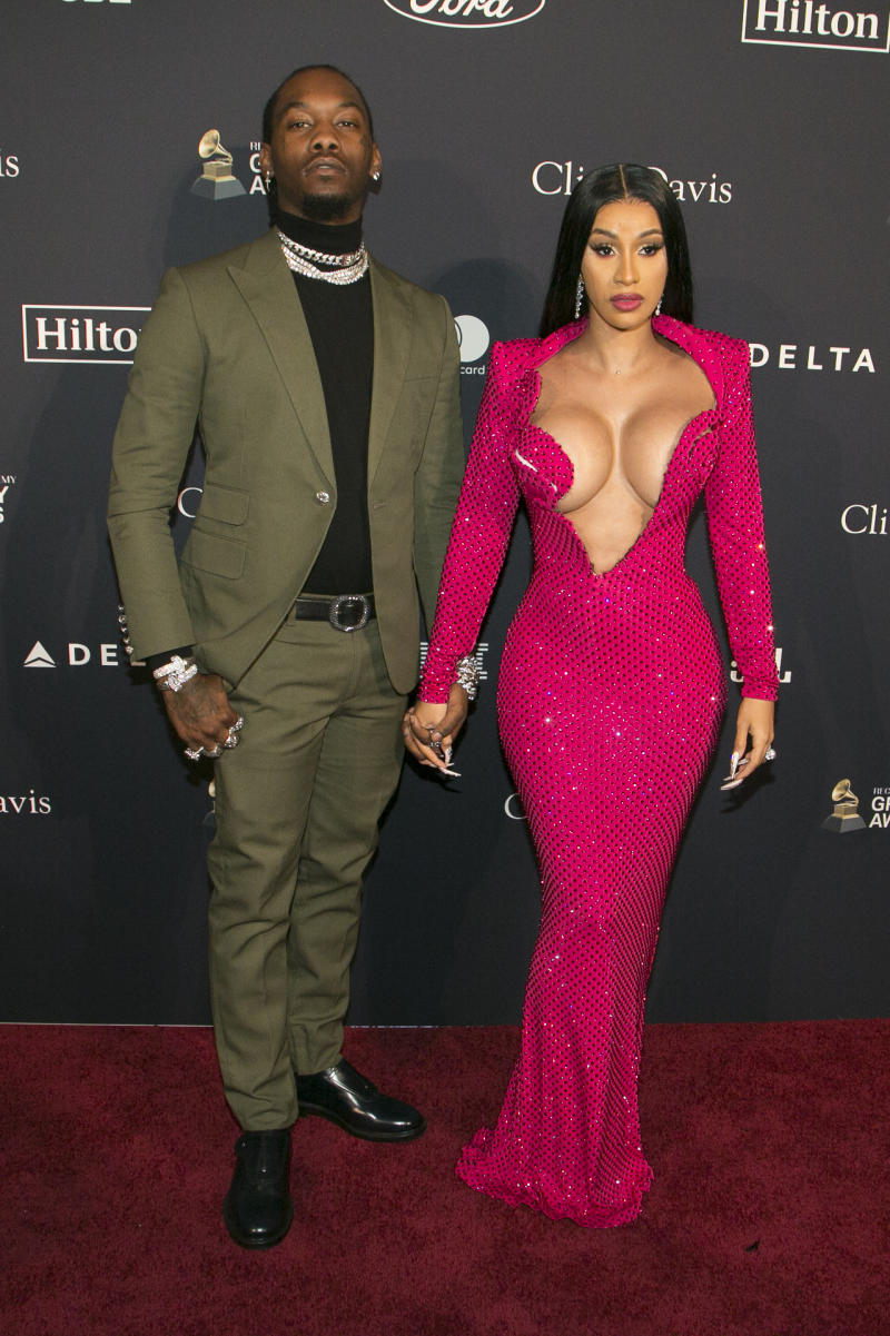 "Cardi B (L) and Offset attend the Pre-GRAMMY Gala and GRAMMY Salute to Industry Icons Honoring Sean ""Diddy"" Combs at The Beverly Hilton Hotel on January 25, 2020 in Beverly Hills, California. (Photo by Gabriel Olsen/FilmMagic)"