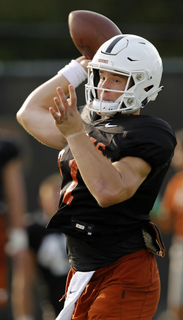 Texas Longhorns quarterback Sam Ehlinger passes during practice Wednesday Sept. 4, 2019 in Austin, Tx. ( Photo by Edward A. Ornelas )