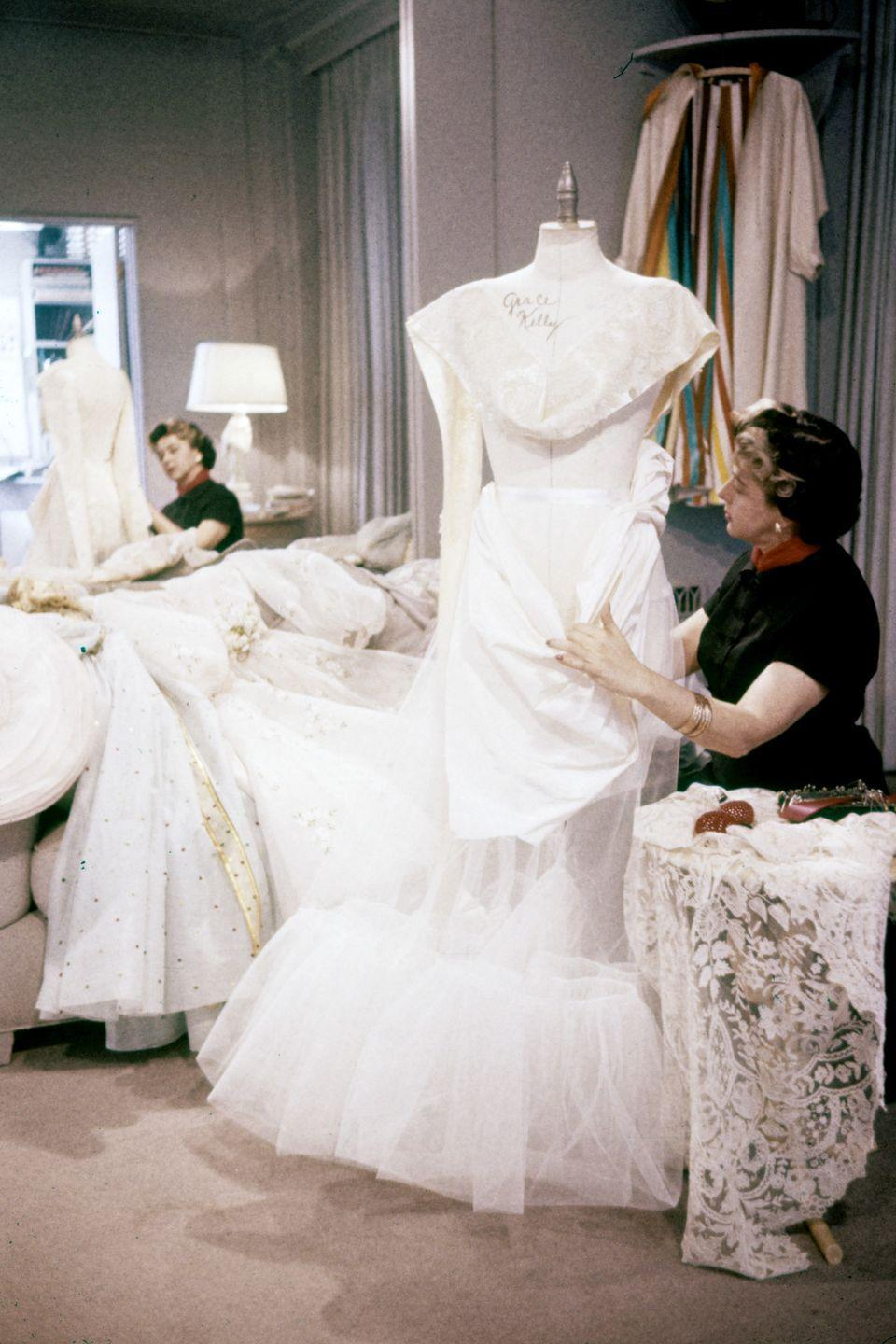 """<p>The studio's wardrobe department created the <a href=""""http://www.philamuseum.org/collections/permanent/56621.html"""" rel=""""nofollow noopener"""" target=""""_blank"""" data-ylk=""""slk:&quot;fairy-princess&quot; look"""" class=""""link rapid-noclick-resp"""">""""fairy-princess"""" look</a> piece by piece. The lace bodice also came with a slip, skirt support and underbodice. Foundation, ruffled and smoothing petticoats went under the pleated silk faille skirt. Finally, a train insert and silk faille cummerbund completed the outfit. </p>"""