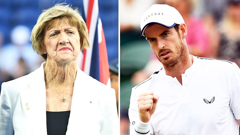 Andy Murray (pictured right) fist-pumping and Margaret Court (pictured left) during a ceremony.