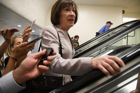 U.S. Senator Collins arrives prior to a procedural vote on Kavanaugh nomination on Capitol Hill in Washington