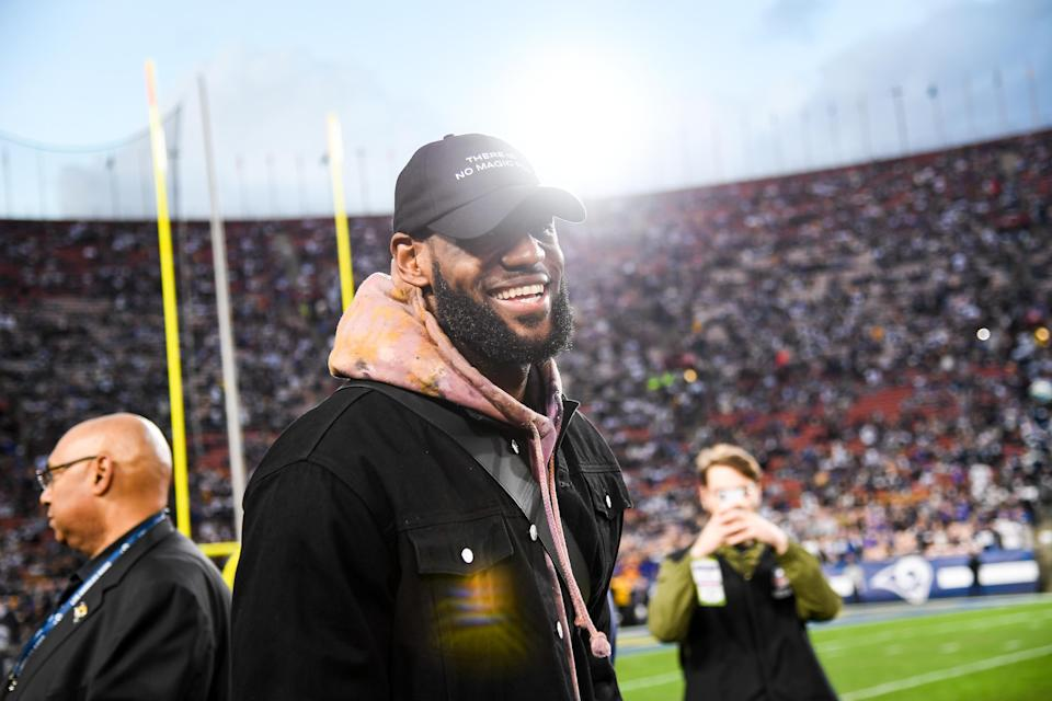 LeBron James attends the NFC Divisional Round playoff game between the Dallas Cowboys and the Los Angeles Rams. (Photo by Kevork Djansezian/Getty Images)