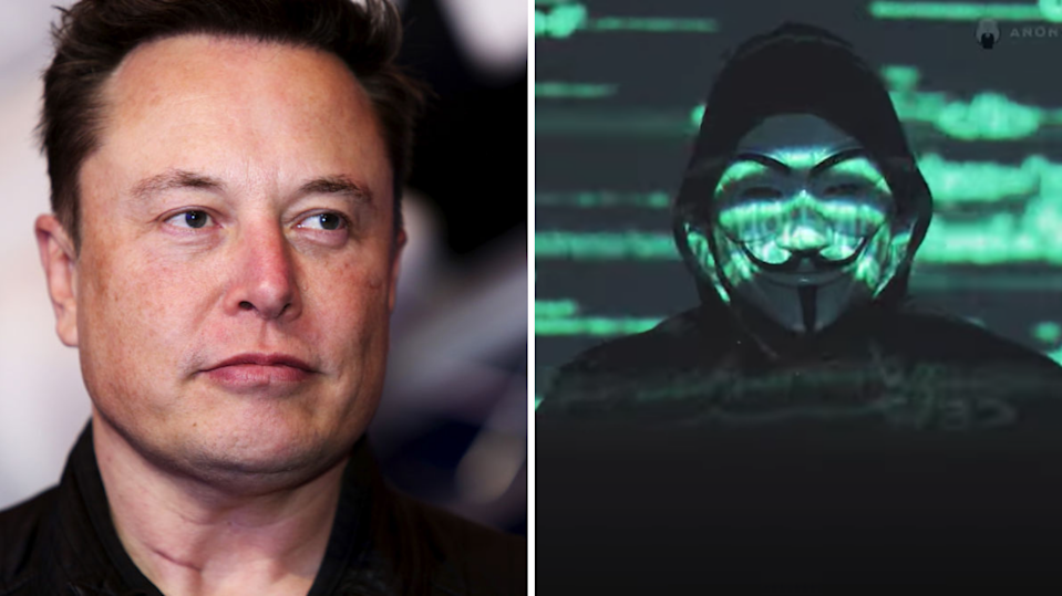 Elon Musk has been targeted in a new video by the Anonymous group. (Images: Getty, Anonymous via YouTube).