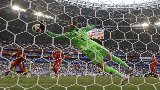 <p>Jordan Pickford makes a stunning save from Sweden's Marcus Berg </p>