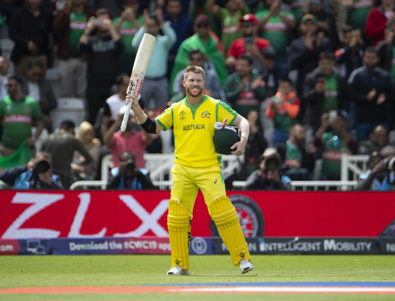 NOTTINGHAM, ENGLAND - JUNE 20: David Warner of Australia acknowledges the crowd after being dismissed for 166 during the Group Stage match of the ICC Cricket World Cup 2019 between Australia and Bangladesh at Trent Bridge on June 20, 2019 in Nottingham, England. (Photo by Visionhaus/Getty Images)