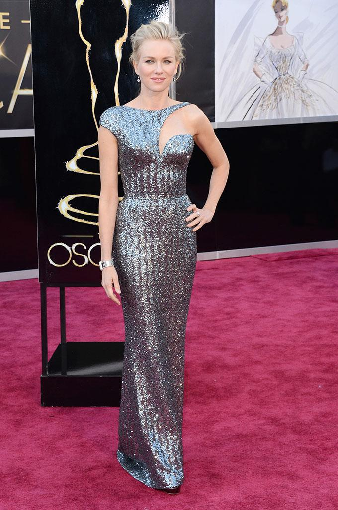 Naomi Watts arrives at the Oscars in Hollywood, California, on February 24, 2013.