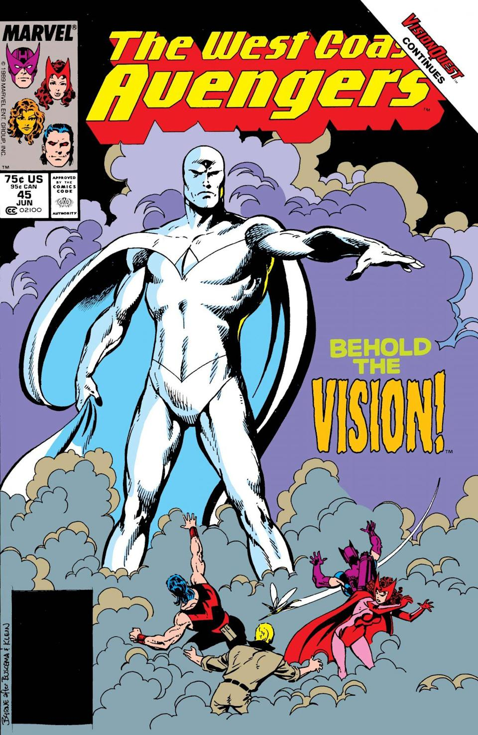 White Vision stands tall in the clouds on the cover of The West Coast Avengers