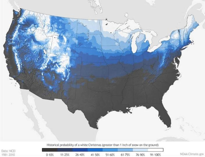 What are your chances of seeing a white Christmas for 2019? This map shows the probability based on 30 years of data.