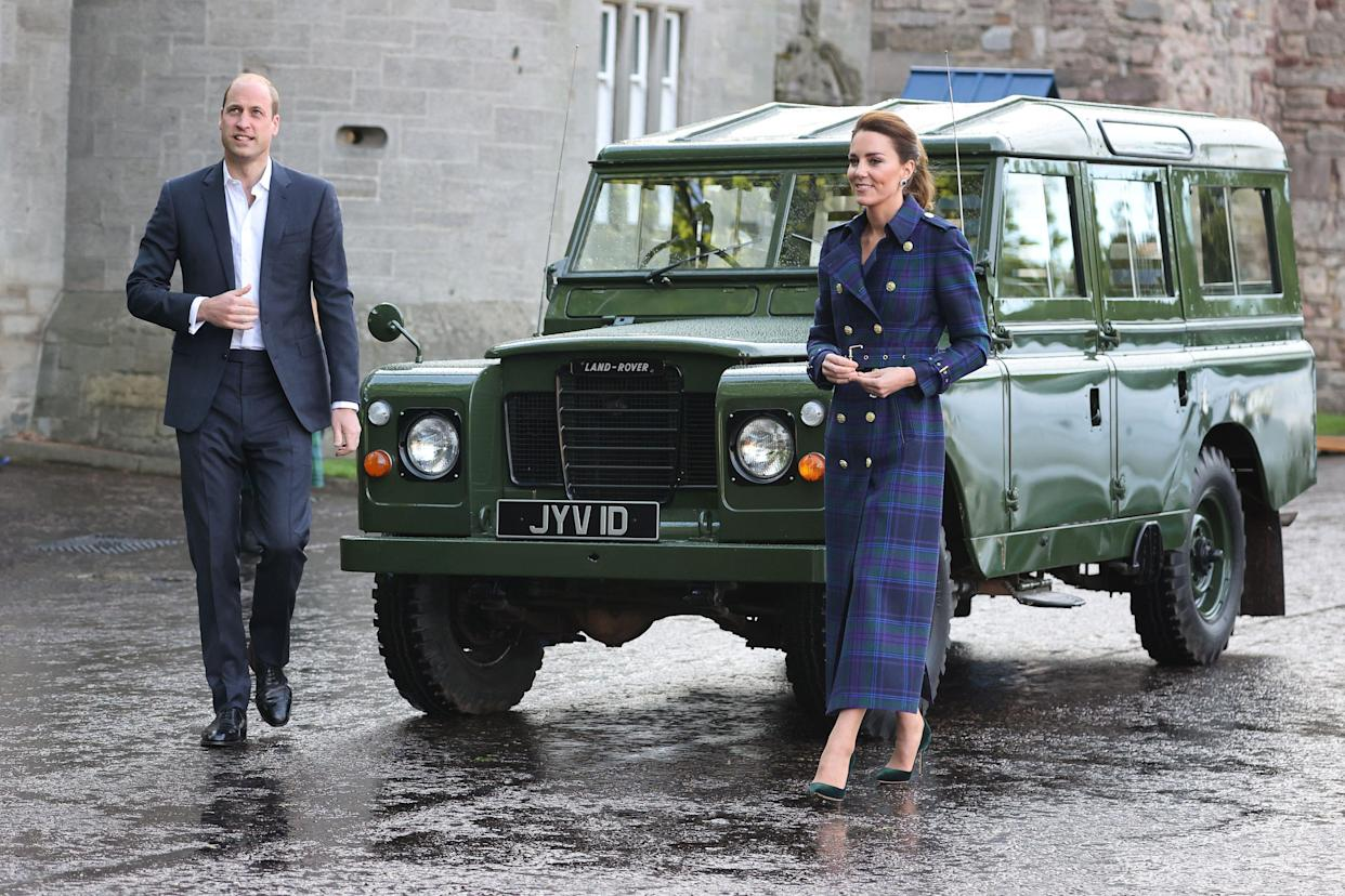 Britain's Prince William, Duke of Cambridge and Britain's Catherine, Duchess of Cambridge arrive in a Land Rover Defender that previously belonged to Prince Philip, Duke of Edinburgh, as they host a drive-in cinema event for NHS staff at the Palace of Holyroodhouse in Edinburgh, Scotland on May 26, 2021, during their week long visit to Scotland. (Photo by Chris Jackson / POOL / AFP) (Photo by CHRIS JACKSON/POOL/AFP via Getty Images)