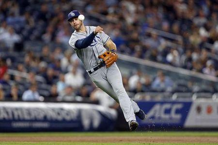 Sep 26, 2017; Bronx, NY, USA; Tampa Bay Rays third baseman Evan Longoria (3) throws out New York Yankees third baseman Chase Headley during the seventh inning at Yankee Stadium. Mandatory Credit: Adam Hunger-USA TODAY Sports