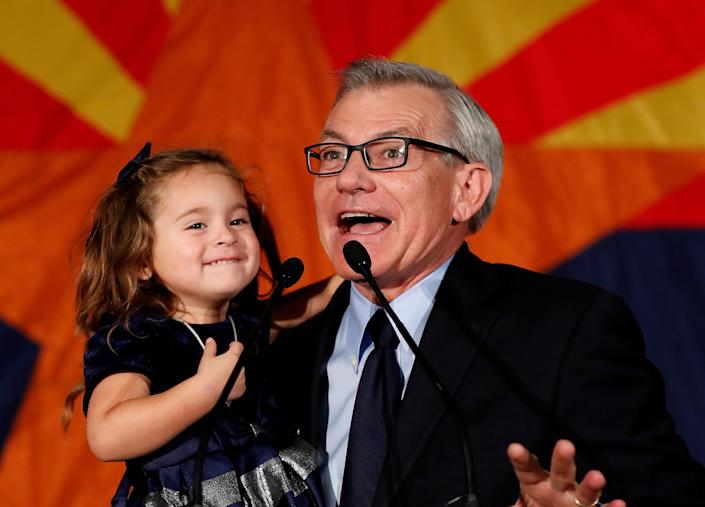 Rep. David Schweikert (R-Ariz.), with his daughter Olivia, speaking to supporters on election night in 2018. Democrats, who have a primary on Tuesday, hope to unseat him in November. (Photo: ASSOCIATED PRESS)