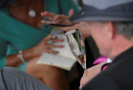 FILE PHOTO-Racegoers drink champagne at the Ascot racecourse at Ascot near London, Britain June 22, 2017. REUTERS/Toby Melville
