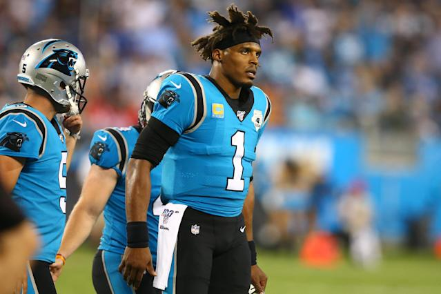 "Sep 12, 2019; Charlotte, NC, USA; Carolina <a class=""link rapid-noclick-resp"" href=""/nfl/teams/carolina/"" data-ylk=""slk:Panthers"">Panthers</a> quarterback Cam Newton (1) walks off the field during the second quarter against the <a class=""link rapid-noclick-resp"" href=""/nfl/teams/tampa-bay/"" data-ylk=""slk:Tampa Bay Buccaneers"">Tampa Bay Buccaneers</a> at Bank of America Stadium. (Jeremy Brevard-USA TODAY Sports)"