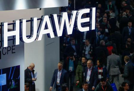 A logo of Huawei is seen during the Mobile World Congress in Barcelona