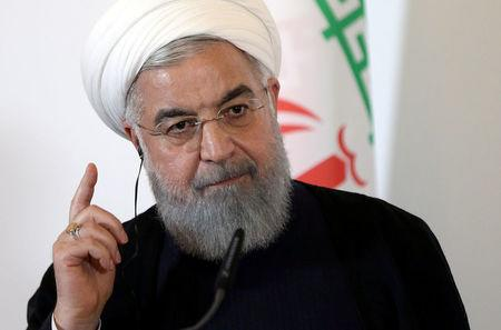 Rouhani attends a news conference at the Chancellery in Vienna