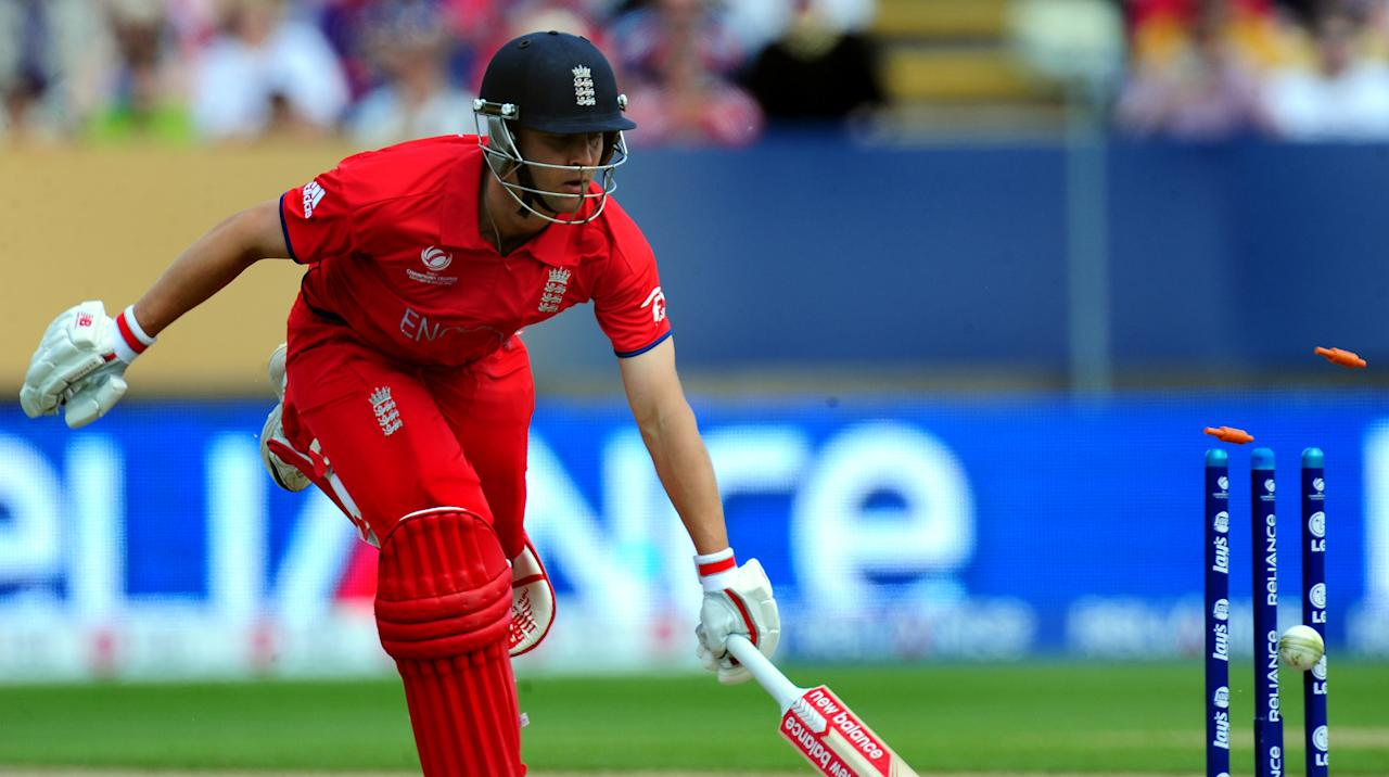 England's Jonathan Trott survives an attempt run out during the ICC Champions Trophy match at Edgbaston, Birmingham.