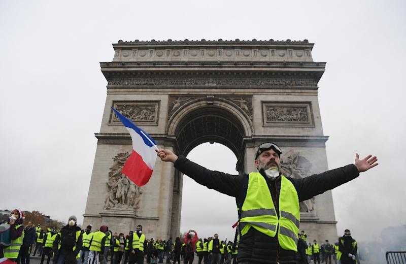 "The Arc de Triomphe was covered in graffiti and its museum and lobby ransacked during the ""yellow vest"" protests in Paris on December 1"