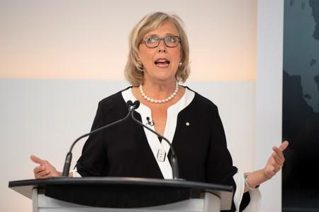 Green Party leader Elizabeth May speaks during a debate hosted by Macleans/Citytv in Toronto