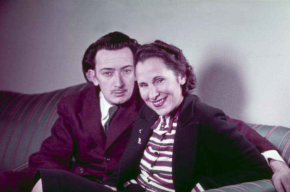 Spanish surrealist painter Salvador Dali & wife Gala sitting on couch.  (Photo by Eric Schaal/The LIFE Images Collection via Getty Images/Getty Images)