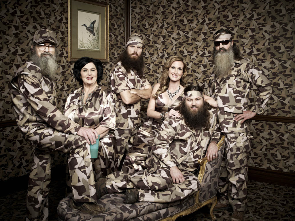 "Willie, Korie, Miss Kay, Jase, Phil & Si Robertson of the A&E series ""Duck Dynasty."""
