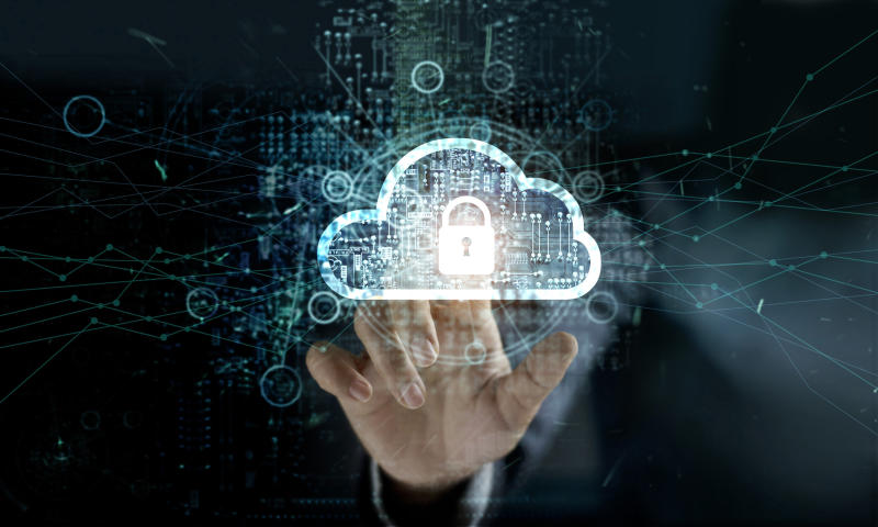 Hand pointing to cloud icon with a padlock in the middle