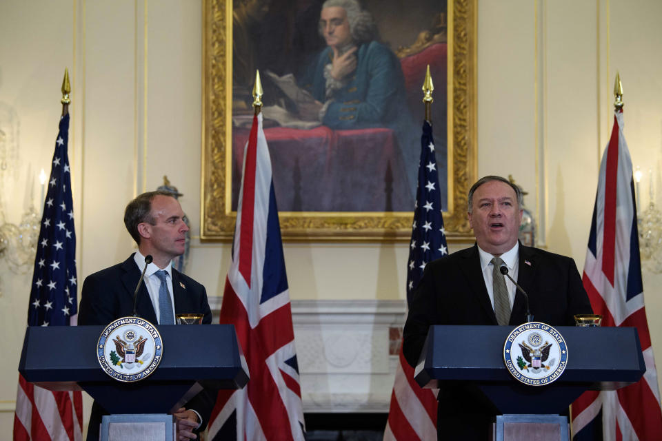 Secretary of State Mike Pompeo speaks at a news conference with British Foreign Secretary Dominic Raab at the State Department in Washington, Wednesday, Sept. 16, 2020. (Nicholas Kamm/Pool via AP)
