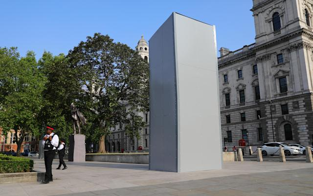 Authorities have also boarded up a statue former British Prime Minister Sir Winston Churchill in Parliament Square. (PA)