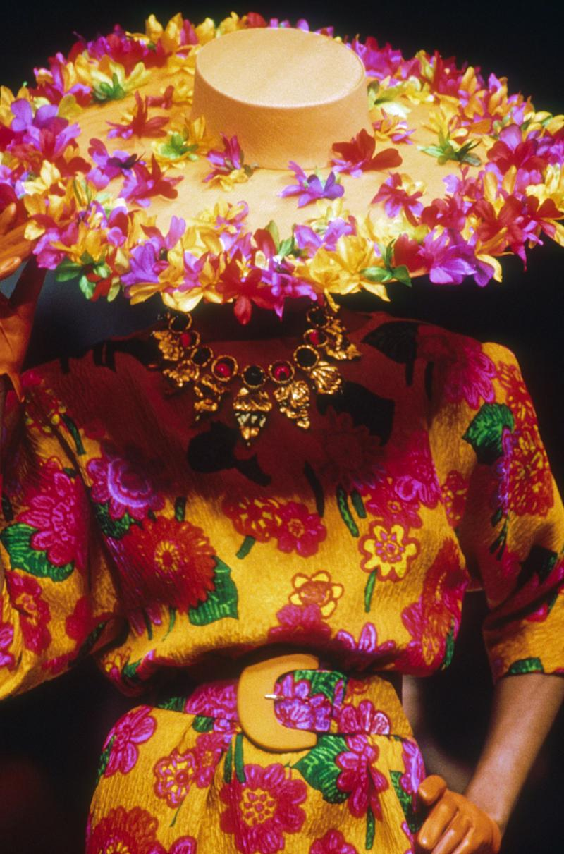 A model wears a floral design by Givenchy at the designer's 1991 spring/summer couture presentation.
