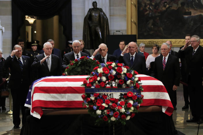 Former Secretary of State Colin Powell, third from left, leads former Operation Desert Storm commanders as they pay their last respects to former President George H.W. Bush as he lies in state at the Capitol in Washington, Tuesday, Dec. 4, 2018. (Photo: Manuel Balce Ceneta/AP)