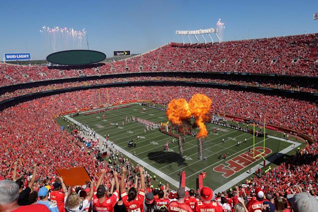 <p>Kansas City Chiefs fans pack a flame filled Arrowhead Stadium for player introductions before the first game of the season against the San Diego Chargers September 11, 2016 in Kansas City, Missouri. (Photo by Jamie Squire/Getty Images) </p>