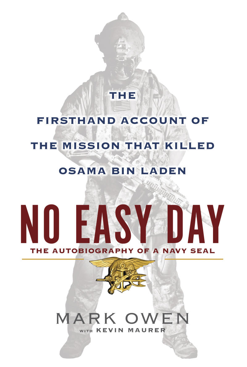 """FILE - This book cover image released by Dutton shows """"No Easy Day: The Firsthand Account of the Mission that Killed Osama Bin Laden,"""" by Mark Owen with Kevin Maurer.  The Pentagon's top lawyer has informed the former Navy SEAL who authored the forthcoming book describing details of the raid that killed Osama bin Laden that he violated agreements to not divulge military secrets and that as a result the Pentagon is considering taking legal action against him. The general counsel of the Defense Department, Jeh Johnson, wrote in a letter transmitted to the author on Thursday, Aug. 30, 2012, that he had signed two nondisclosure agreements with the Navy in 2007 that obliged him to """"never divulge"""" classified information. Johnson said that after reviewing a copy of the book, """"No Easy Day,"""" the Pentagon concluded that the author is in """"material breach and violation"""" of the agreements.  (AP Photo/Dutton, File)"""