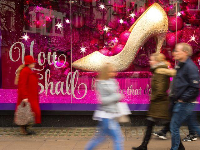 A festive store display on Oxford Street