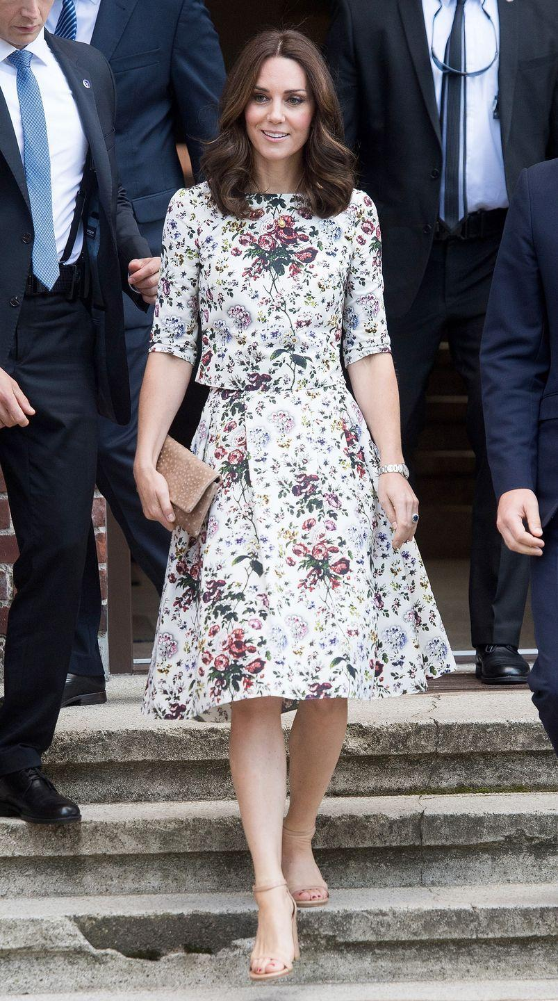 <p>The Duchess wears an Erdem floral top and skirt, a tan clutch, and nude sandals while visiting the Stutthof concentration camp during an official visit to Poland and Germany.</p>