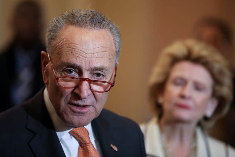 U.S. Senate Minority Leader Schumer holds his weekly news conference at the U.S. Capitol in Washington