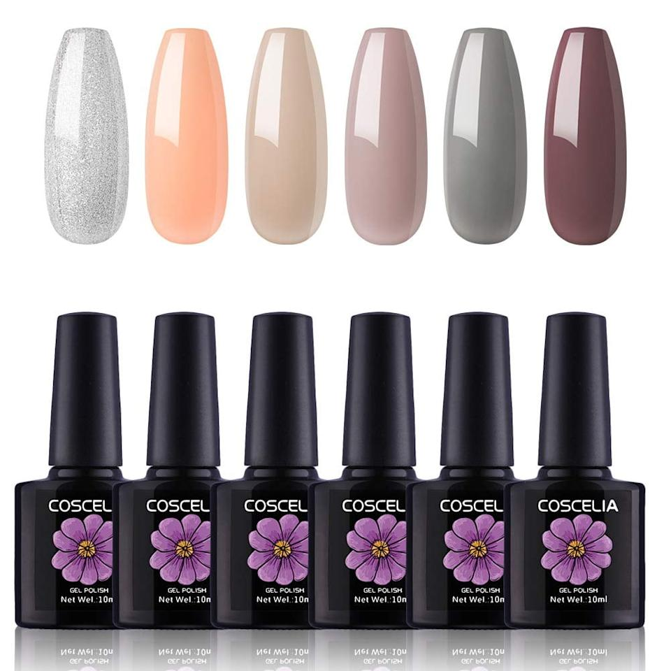 "<p>I put a <em>lot</em> of thought into which polish to buy. Out of all the brands I've selected during in-salon manicures, I've never found a discernible difference in quality when it comes to gel polish. After scoping out a variety of sets at various price points, I settled on the <a href=""https://www.popsugar.com/buy/Coscelia-6-Piece-Gel-Polish-Set-361064?p_name=Coscelia%206-Piece%20Gel%20Polish%20Set&retailer=amazon.com&pid=361064&price=13&evar1=bella%3Aus&evar9=45206847&evar98=https%3A%2F%2Fwww.popsugar.com%2Fbeauty%2Fphoto-gallery%2F45206847%2Fimage%2F45206852%2FCoscelia-6-Piece-Gel-Polish-Set&list1=beauty%20products%2Cmanicure%2Cnails%2Cartificial%20nails%2Cmanicures&prop13=mobile&pdata=1"" rel=""nofollow"" data-shoppable-link=""1"" target=""_blank"" class=""ga-track"" data-ga-category=""Related"" data-ga-label=""https://www.amazon.com/gp/product/B07D9FHL4V/ref=oh_aui_detailpage_o05_s00?ie=UTF8&amp;th=1"" data-ga-action=""In-Line Links"">Coscelia 6-Piece Gel Polish Set</a> ($13), which has four and a half stars and features several options for color combinations. I can confirm that they're all very flattering in real life, too.</p>"