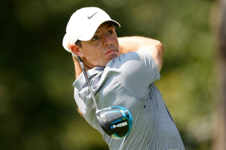 Co-leader: Northern Ireland's Rory McIlroy on the way to an eight-under par 64 and a share of the first-round lead in the US PGA Tour's BMW Championship in Maryland (AFP/Tim Nwachukwu)