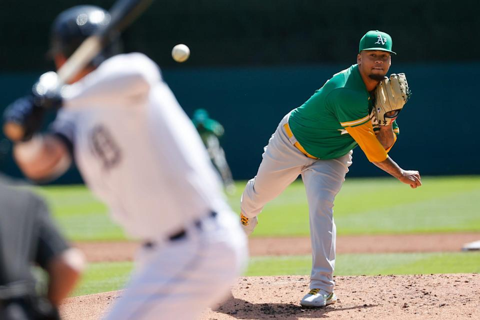 Oakland Athletics starting pitcher Frankie Montas (47) pitches in the first inning Sept. 2, 2021 against the Detroit Tigers at Comerica Park.