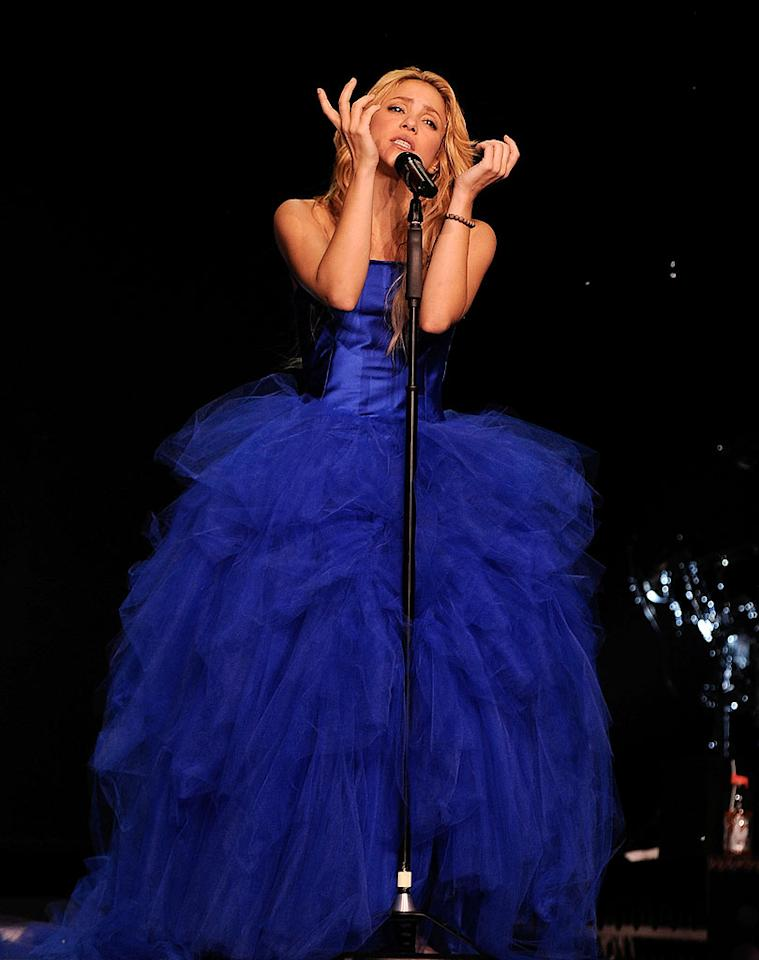"Wearing a breathtaking blue gown, the 33-year-old belted out ballads in both English and Spanish. The presidents of Chile and Colombia were reportedly in the crowd. Larry Busacca/<a href=""http://www.gettyimages.com/"" target=""new"">GettyImages.com</a> - September 21, 2010"