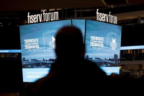 PHOTO: Signage is displayed during a media walkthrough for the upcoming Democratic National Convention (DNC) at the Fiserv Forum in Milwaukee, Jan. 7, 2020. ( Daniel Acker/Bloomberg via Getty Images)