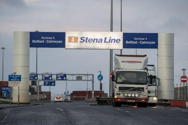 A lorry passes under a sign for the Stena Line Terminal 4 between Belfast and Cairnryan (Liam McBurney/PA)
