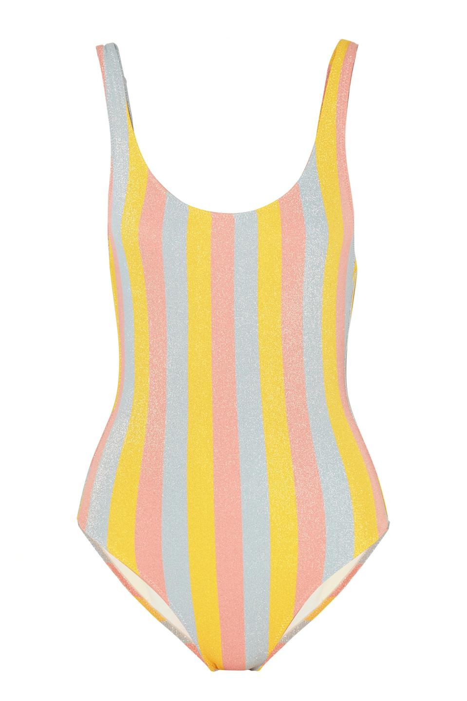 """<p>Planning a quick getaway this summer? We highly recommend packing this seriously Insta-worthy swimsuit for a whole load of likes and praise hand emojis. <em><a href=""""https://www.net-a-porter.com/gb/en/product/1035856/solid___striped/the-anne-marie-glittered-striped-swimsuit"""" rel=""""nofollow noopener"""" target=""""_blank"""" data-ylk=""""slk:Shop now"""" class=""""link rapid-noclick-resp"""">Shop now</a>.</em> </p>"""
