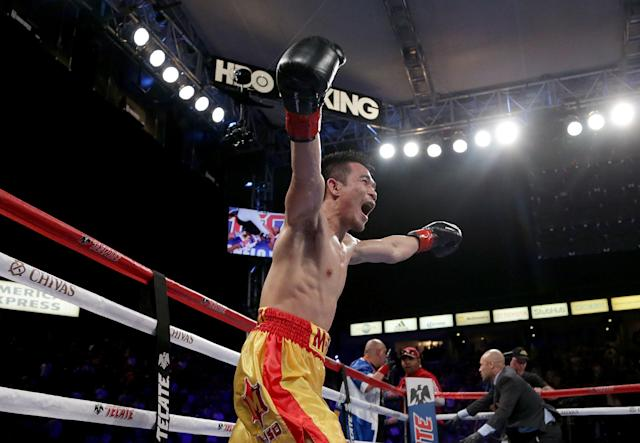 Srisaket Sor Rungvisai, shown in a 2017 file photo, won a compelling victory with a majority decision over Juan Francisco Estrada Saturday in Inglewood, Calif., to retain the WBC super flyweight title. (Getty Images)