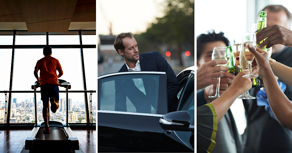 A man running on a treadmill, a businessman getting into a corporate car and co-workers cheers-ing glasses