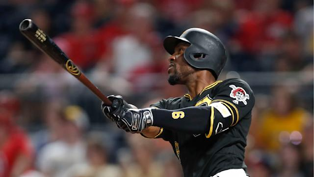 FILE - In this Aug. 20, 2019, file photo, Pittsburgh Pirates' Starling Marte hits a two-run home run in the eighth against the Washington Nationals in Pittsburgh. The Arizona Diamondbacks hope Starling Marte can add another potent bat to the lineup after he hit at least 20 homers in each of the past two seasons in Pittsburgh. (AP Photo/Keith Srakocic, File)