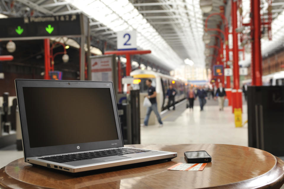 An HP Probook laptop at Marylebone Station, London. Photo: Will Ireland/What Laptop, Tablet and Smartphone Magazine via Getty Images